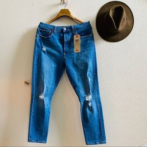 LEVI's 501 Skinny high rise jeans 32 crop NWT